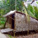 Mekong-Delta Einfache Wohnhüttenam Rande der kleinen Kanäle