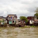 Mekong-Delta Wohnen am Rande des Flusses
